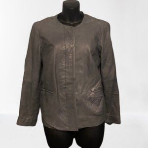 Lucky Brand Faux Leather Grey Jacket Size Small